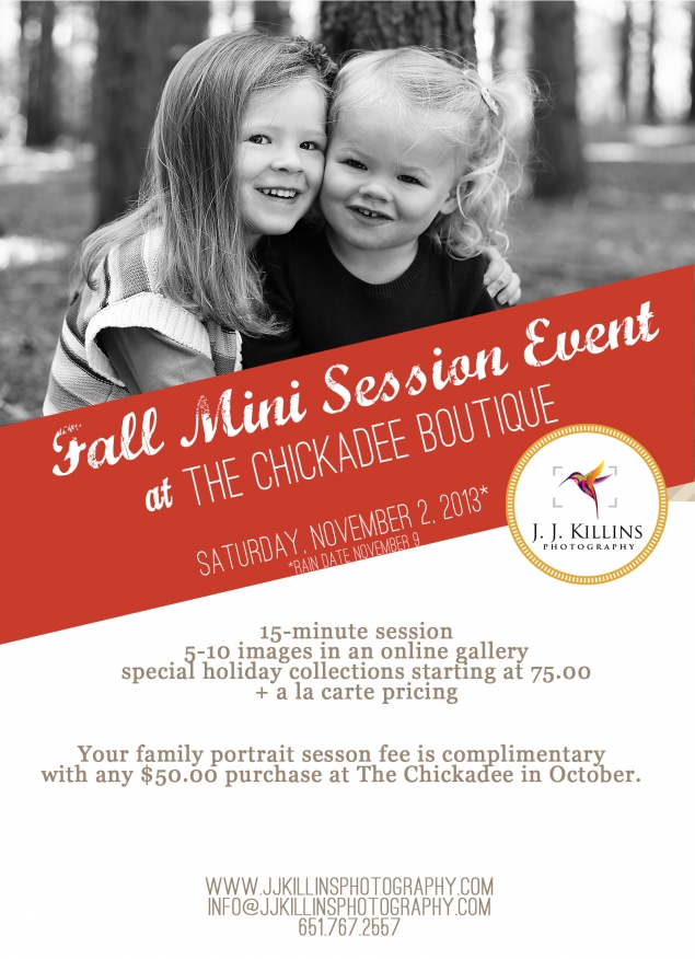 Chickadee fall photo mini sessions